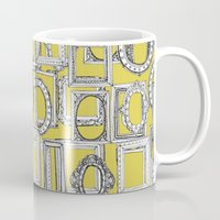 frames Mugs featuring picture frames aplenty yellow by Sharon Turner