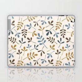 Assorted Leaf Silhouettes Ptn Blues Brwn Gld Crm Laptop & iPad Skin