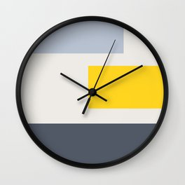 Modern geometric color block rectangle  stripes with yellow splash of color  Wall Clock
