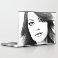 emma stone Laptop & iPad Skins featuring Emma Stone minimalist digital portrait by Thubakabra