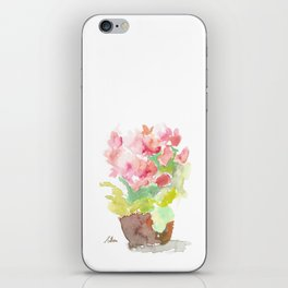 Watercolor Spring Flowers in a Clay Pot iPhone Skin