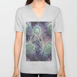 Artfully abstract blooming ice flowers Unisex V-Neck