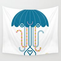 jelly fish Wall Tapestries featuring Jelly the Fish by Kirsten Ulve