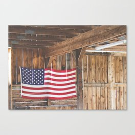 Rural American Flag in a Traditional Rustic Barn Canvas Print