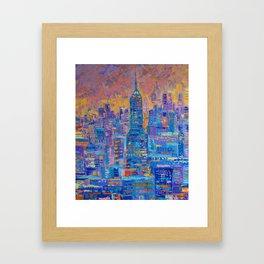 Manhattan - palette knife urban New York skyline city landscape by Adriana Dziuba Framed Art Print