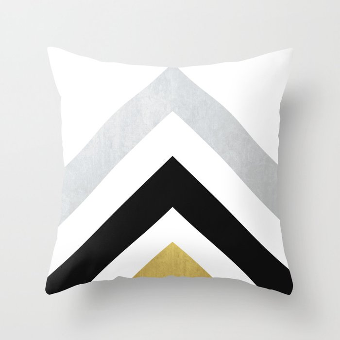 Minimalist Geometric Black Gold Throw Pillow By