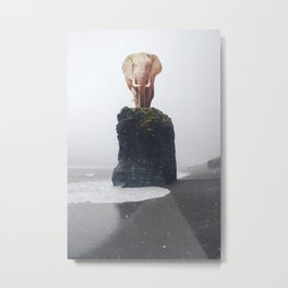 No Way Down, Elephant at Iceland Black Sand Beach-Animals and Nature Metal Print