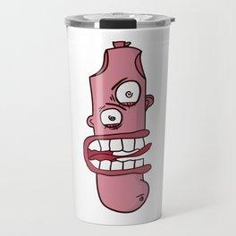 Sausage hod dog cartoon mascot character Travel Mug