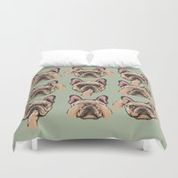 frenchie Duvet Covers featuring No Evil  Frenchie by Huebucket