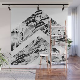 Black And White Geometric Wet Paint Grunge Wall Mural