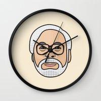 hayao miyazaki Wall Clocks featuring Hayao Miyazaki Portrait - Beige by Cedric S Touati