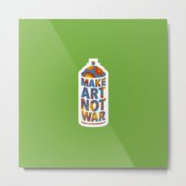 Make Art Not War (African print green) Metal Print
