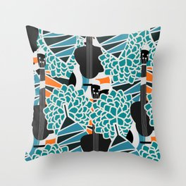 Guitars, flowers and leaves Throw Pillow