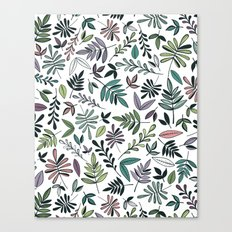 Black Border Leaves  Canvas Print