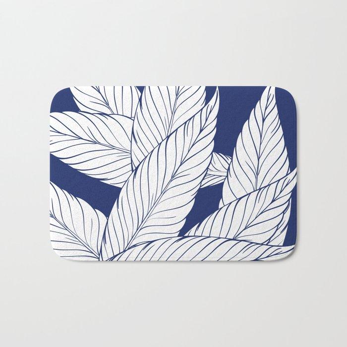 SUMMERTIME (Leaves on blue) Bath Mat