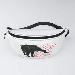 Ride bicycles not elephants. Black elephant, Red text Fanny Pack