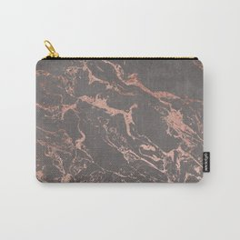Modern Grey cement concrete on rose gold marble Carry-All Pouch