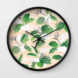 Peachy Palms Wall Clock