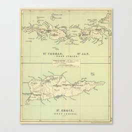 Vintage Map of The Virgin Islands (1853) Canvas Print