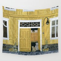 building Wall Tapestries featuring Yellow building by Yuliya