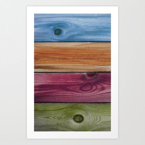 Wooden Rainbow Art Print