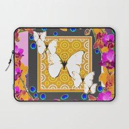 Golden Butterflies  Orchids & Blue  Peacock Eyrsd On Puce Art Laptop Sleeve