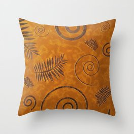 Graphic Fossil Leaf and Shell Shapes Red Sand Pattern Throw Pillow