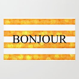 Bonjour Orange Stripe Bokeh Rug