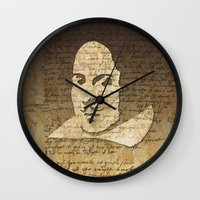 shakespeare Wall Clocks featuring William Shakespeare by Vi Sion
