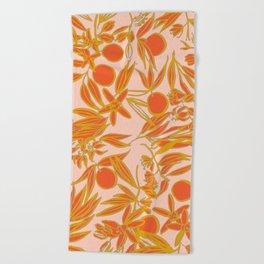 Orange Blossoms on Peach Beach Towel