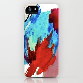 Ice and Fire: a vibrant, colorful, mixed media piece in pinks, blues, and red iPhone Case