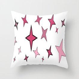 Lucky Pink Stars Throw Pillow