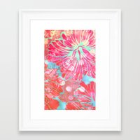 aelwen Framed Art Prints featuring Blue Water Hibiscus Snowfall by Vikki Salmela