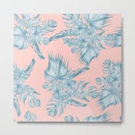 Dreaming of Hawaii Pale Teal Blue on Millennial Pink Metal Print