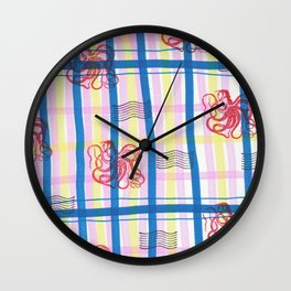 Naval Gingham Wall Clock