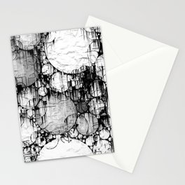 Glitch Black & White Circle abstract Stationery Cards