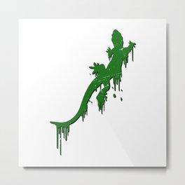 Distressed Green Salamander With Paint Drip Metal Print