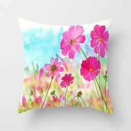 Symphony In Pink, Watercolor Wildflowers Throw Pillow