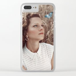 Blue Butterfly Portrait Clear iPhone Case