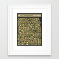 chicago map Framed Art Prints featuring CHICAGO MAP by Jazzberry Blue