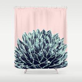 Blush Navy Blue Agave Chic #1 #succulent #decor #art #society6 Shower Curtain