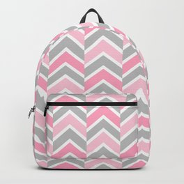 Pink Gray Chevron Tile Backpack
