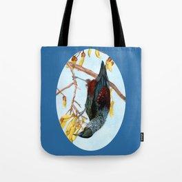 Tui in a Kowhai Tree Tote Bag