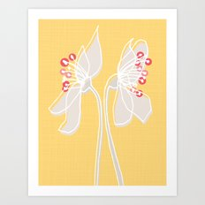 Cherry Blossom: Yellow Art Print