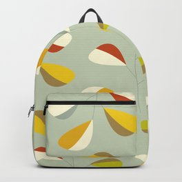 Mid Century Modern Graphic Leaves Pattern 1. Vintage green Backpack