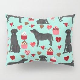 Black Lab love hearts cupcakes valentines day dog breed pet art gifts labrador retriever breed Pillow Sham