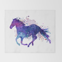 Running Horse Watercolor Silhouette Throw Blanket
