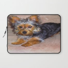 Silky Terrier Puppy - rendered as watercolor Laptop Sleeve