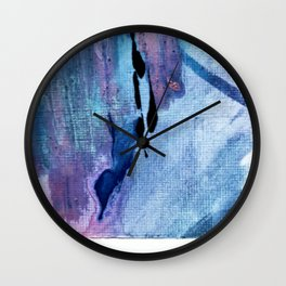 Pull: an abstract mixed media piece in blues, purple, black, and white Wall Clock