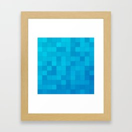 Blue and Teal Squares Framed Art Print